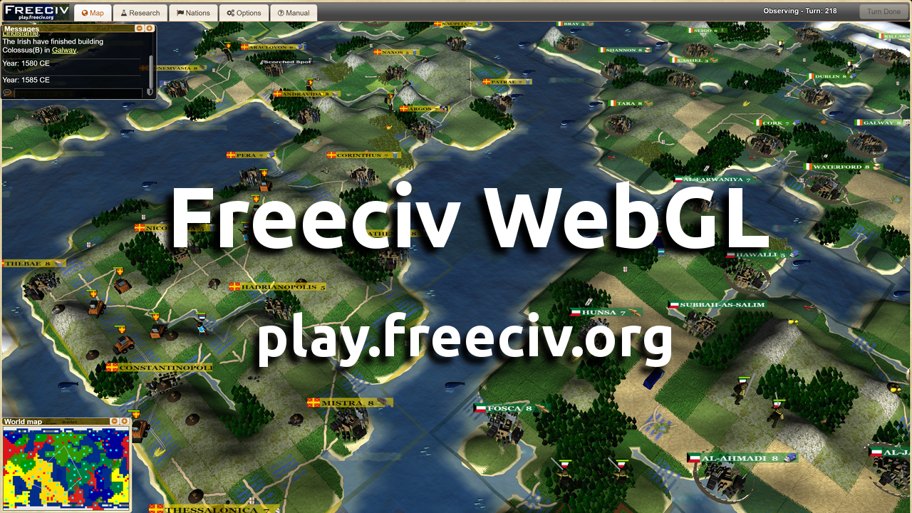 Freeciv Web Open Source Turn Based Strategy Game